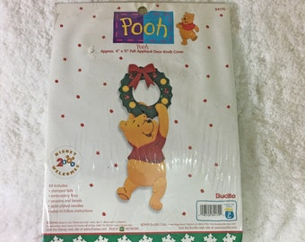 Bucilla Pooh Felt Applique Door Knob Cover Kit / Christmas decoration / Winnie the Pooh / licensed Disney / holiday needlecrafting