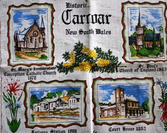 Souvenir Carcoar teatowel Linen as new