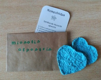 Plantable paper forget-me-not blue heart