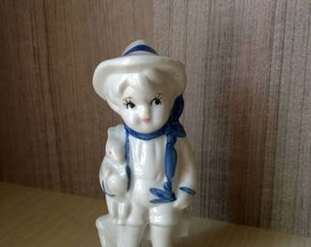 Vintage porcelain figurine  Boy with bunny