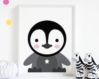 Penguin Wall Art, 50% OFF Nursery Wall Decor, Penguin Printable, Cute Penguin Art, Penguin Print, , Nursery Print, Nursery Art 8x10 Download