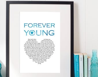 Song Lyric Wall Art forever young lyrics | etsy