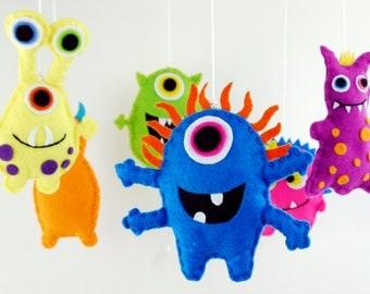 Felt Monster Mobile, Baby Crib,  Nursery Decor, Baby Shower Gift,Crib Mobile, Nursery Decoration,Present, Mobile, Baby Cot