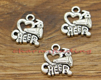 20pcs Cheerleader Charms Love to Cheer Charms Antique Silver Tone 16x18mm cf1812
