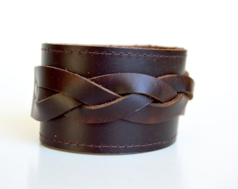Women's Brown Braided Leather Cuff: Dark Mahogany Brown Leather Bracelet--Limited Edition Leather Cuff Bracelet