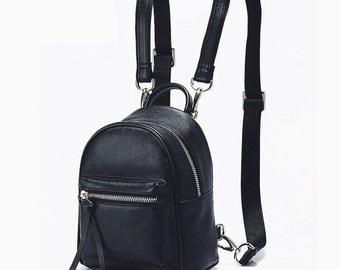 Leather backpack for women. Minimalist bag. Handmade genuine