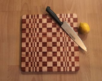 Exotic Hardwood Cutting Board - 3 Dimensional with Brazilian Cherry and Maple