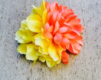 Orange and Yellow large silk flower hair clip