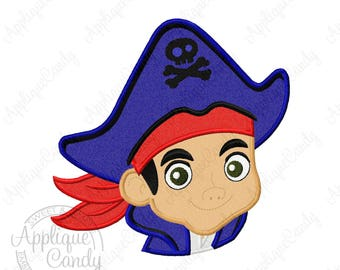 Captain Kid Applique Machine Embroidery Design 4x4 5x5 6x6 7x7 8x8 Jake Pirate INSTANT DOWNLOAD