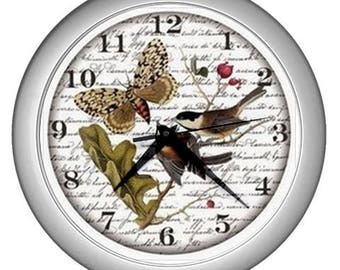 Retro Wall clock vintage bird butterfly image Wall  decor butterfly decor