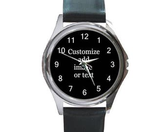 Personalized wristwatch leather watch Customize your own image or text Unisex Watch gift personalized