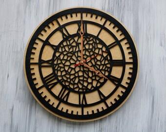 Wooden Wall Clock, Wall Clocks, Modern clock, Housewarming Gift, Christmas gift idea, Home decor, Wood Clock, Custom engraved, Hanging clock