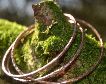 Set of 3 Copper Bangles, Copper Bangle, Stacking Bangles, Copper Bracelet, Copper Jewellery, Gift for Her, Bangle, Bracelet.