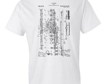 Flute T-Shirt Patent Art Gift, Flute Patent, Flute Design, Flute Shirt, Flute Player Gift, Flutist, Musician Gift, Music Teacher Gift