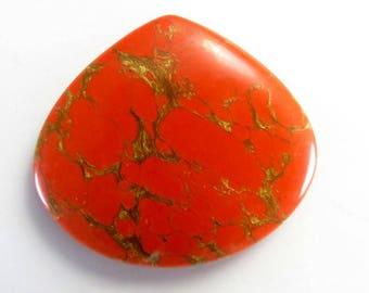 Orange Copper Turquoise Heart Shape Loose Gemstone Cabochon 29Cts 35X31X4.5mm - Jewellery Making Handmade Turquoise Gemstone - B-20406