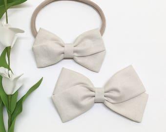 Ivory Baby Headband - Cream - Baby Headband  - Clip or Headband