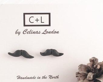 Moustache Earrings - Moustaches - Black moustache studs - Clay moustache earrings - Handmade moustache studs