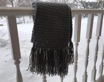 Handmade Grey Tassel Scarf (Long)