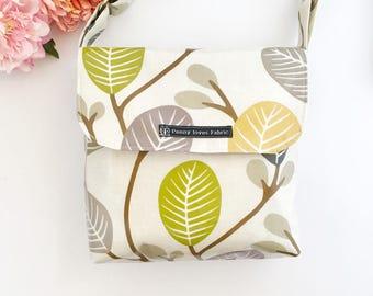 Vinyl bags, Waterproof bags, scandi style, scandi fabric, green bag, crossbody bag , crossbody bags, oilcloth bags,