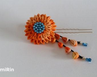 Japanese-style hair accessories knob insert two pins pins knob filigree flower hair accessories