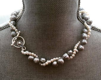 Twisted pearl necklace, multi layered pearls, Bridal statement jewelry, Freshwater pearl necklace, Wedding jewelry, Gray pearl necklace