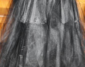 Long Black Petticoat, Elastic Waist, Adjustable Size Small to Large