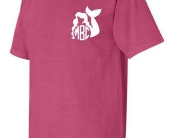 Mermaid Monogram Comfort Color Tshirt, Short Sleeve Comfort Color Monogram Shirt, Comfort Color Mermaid Shirt, Mermaid Monogram