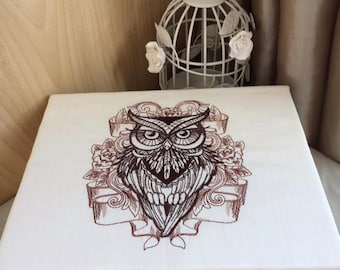 Machine embroidered Wooden Keepsake trinket jewellery memory box with owl design gift