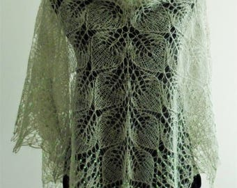 Wedding light green shawl, hand knitted lace shawl, romantic lace, bridal stole, mohair wrap, woman cover up,shoulder light green shawl