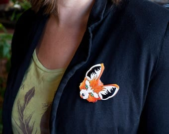 BROOCH FOX in WOOD handpainted orange and white accessory for clothes or bag