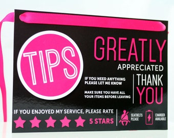 Uber Tips and Rating Sign for Uber Drivers, Rideshare, Pink Edition