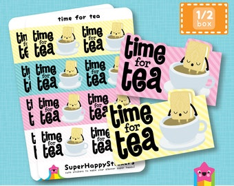 "8 Cute ""time for tea"" Half Box Planner Stickers, Filofax, Erin Condren, Happy Planner, Kawaii, Cute Sticker, UK"