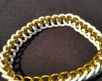 Yellow and White Stretchy Chainmaille Bracelet