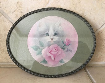 Vintage Oval Cat Art Framed with Metal - Grey Long Haired Cat Sitting in Pink Roses
