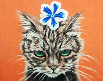 Angry cat kitten with blue flower on pink/orange background