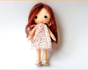Mohair hair hand stitched wool felt doll