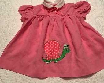 Vintage bright pink appliqué dress/top