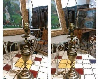 Brass lamps / Brass lamp / Pair of brass lamps / Tin lamps / Pair of tin lamps / Pair of vintage tin lamps / Tin lamp