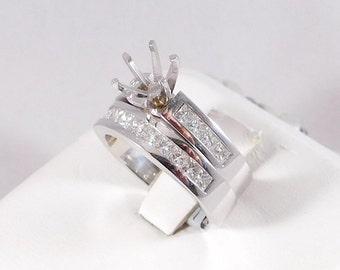 Mounting Wedding Set. 14k WhiteGold Engagement & Wedding Rings. No Center Stone.