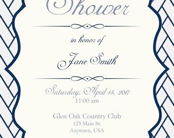 Navy and White Baby Shower Invitation