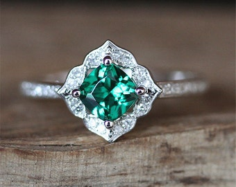 Vintage Emerald Engagement Ring Floral Halo Diamonds Ring Treated 5MM Cushion Cut Emerald Ring Art Deco Gemstone Ring 14K White Gold Ring
