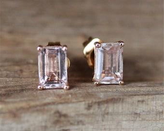 14K Rose Gold Earring 4*6MM Emerald Cut Morganite Earring Brides Earrings Stud Earrings Vintage Earring Gift Gold Stud Gemstone Earrings