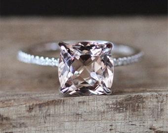 VS 8mm Cushion Cut Morganite Engagement Ring Gmestone Ring 14K White Gold Ring Half Eternity Pave Diamonds Ring Birdal Ring Promise Ring