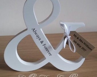 Personalised Freestanding Ampersand, Wedding gift, Anniversary gift, Engagement gift