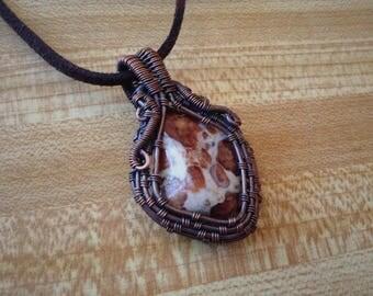 Wire Wrapped Garnet in Limestone Pendant