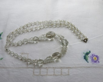 Clear crystal cut glass long Art Deco necklace