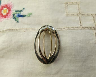 Arts and Crafts style silver and gilt tulip brooch