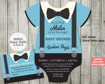Little Man Baby Shower Invitation, Bowtie Baby Shower Invitations, Blue Suspenders invitation - Double sided in any color