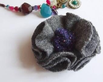 grey flower brooch, grey prom flower, upcycled wool brooch, grey corsage, fabric flower brooch, Grey wool brooch, grey, gray flower pin,