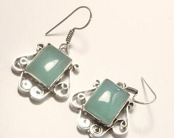 Blue Quartz Chalcedony Silver Dangle Earrings